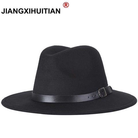 2017 free shipping 2017 new Fashion men fedoras women's fashion jazz hat summer spring black woolen blend cap outdoor casual hat - Candid Lady