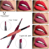 2017 New MISS ROSE 1PC Double-end Lasting Lipliner Waterproof Lip Liner Stick Pencil 8 Colors Party Daily Makeup Lipliner Pen - Candid Lady