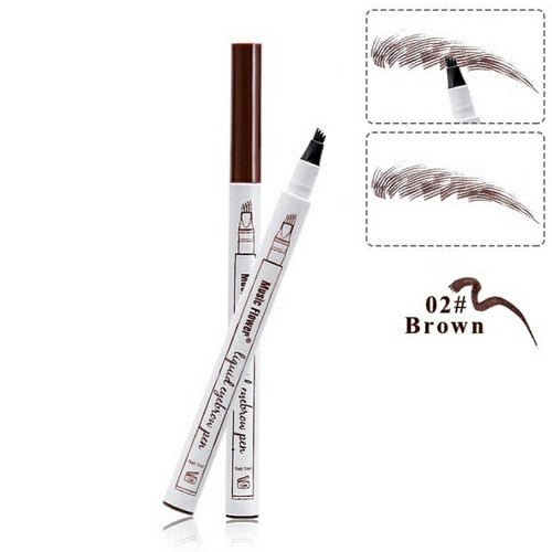 3 Colors Microblading Eyebrow Tattoo Pen 4 Head Fine Sketch Liquid Eyebrow Pencil Waterproof Tattoo Eye Brow Pen Smudge-proof - Candid Lady