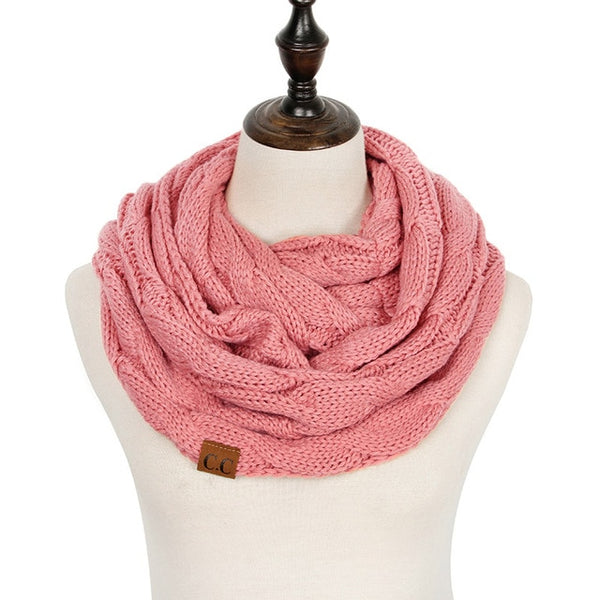 2018 Knitted Cable Ring Scarf Women Soft Winter Infinity Scarves Cashmere Neck Circle Scarf Luxury Brand Ladies Warm Snood Scarf - Candid Lady