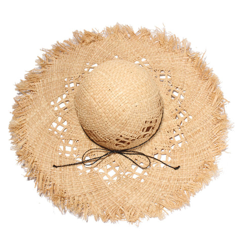 Women's Casual Handmade Paper Straw Hat Wide Brim Hat UV Protection Summer Sun Hats Beach Cap