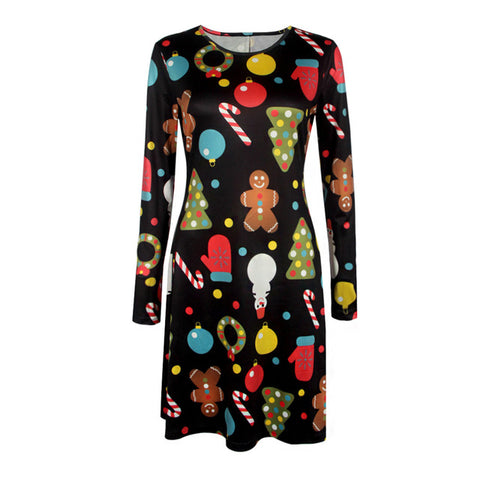2018 Autumn Winter Christmas Dress Women Plus Size Print Dress Midi Elk Snowflake Long Sleeve A-Line Party Dress female 5XL XXXL - Candid Lady