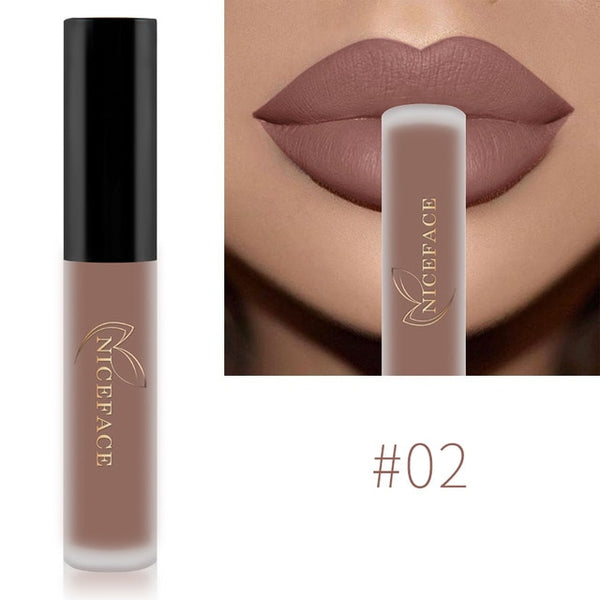 NICEFACE Lip Gloss 26 Colors Nude Matte Liquid Lipstick Mate Waterproof Long Lasting Moisturizing Lipgloss Lip Makeup Cosmetics