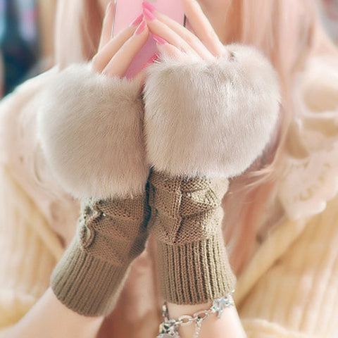 1Pair Fashion Women Faux Rabbit Fur Hand Wrist Crochet Knitted Fingerless Gloves Knitting Mittens Winter Autumn Warmer - Candid Lady