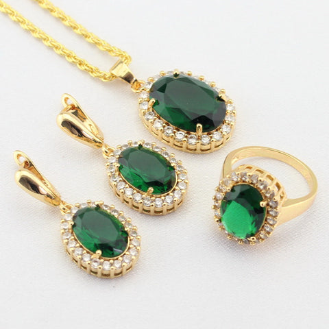 WPAITKYS Green Created Emerald White CZ Gold Color Jewelry Sets For Women Drop Earrings Necklace Pendant Rings Free Gift Box