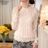 2018 New autumn Ladies White Blusas Women's Long Sleeve Chiffon Lace Crochet Tops Blouses Women Clothing Feminine Blouse 51C - Candid Lady