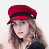 2018 Trend Winter Hats For Women French Style Wool Baker's Boy Hat Female Cool Baseball Cap Black Visor Hat Gorras Casquette - Candid Lady