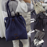 2018 New Women Canvas Shoulder Bags Drawstring Handbag Bucket Tote Messenger Bags Purse Satchel Fashion Bags for Women - Candid Lady