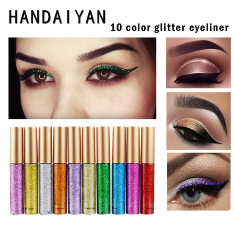 10 Color Professional Glitter Cosmetics Waterproof Shimmer Pigment Silver Gold Metallic Liquid Glitters Eyeliner Makeup D1 - Candid Lady