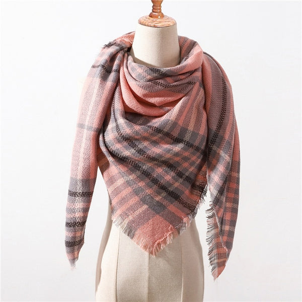 Designer brand women scarf fashion plaid winter scarves for ladies cashmere shawls wraps warm neck Triangle Bandage pashmina - Merla's Vault