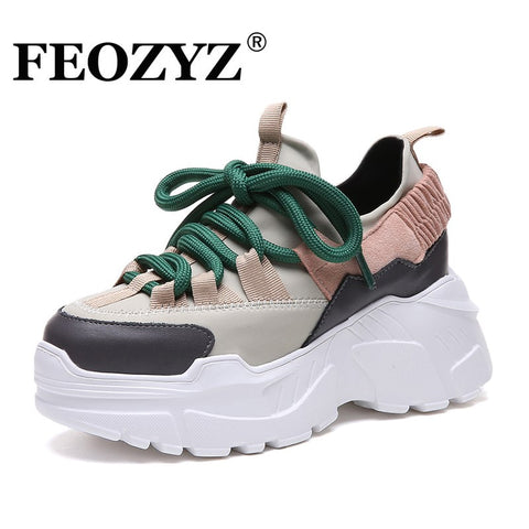 ADBOOV New Fall Winter Platform Sneakers Women Height Increasing 7 cm Chunky Shoes Woman Plus Size 35-42 Ladies Wedge Shoes - Candid Lady