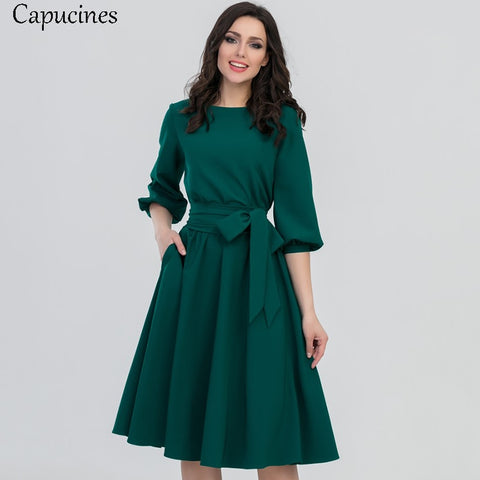 2018 Autumn Vintage Soild Lantern Sleeve A-Line Dress Women Elegant O-Neck Half Sleeve Pocket Sashes Knee-Length Casual Dress - Candid Lady