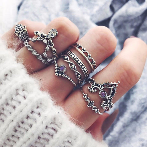 10 Pcs/Set Women Bohemian Fatima Hand Crown Hollow Caved Flower Rings Geometric Crystal Zircon Ring Joint Knuckle Rings #244497 - Candid Lady