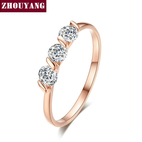 ZHOUYAN Engagement Wedding Ring For Women Classic Simple CZ Austrian Crystal Rose Gold Color Fashion Jewelry Lover Ring R067