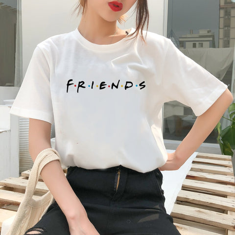 Women White Tshirts Fashion Friends TV Printed Ulzzang Harajuku Kawaii Vogue T Shirt Best Friends Shirts Tee Tops Ladies Clothes