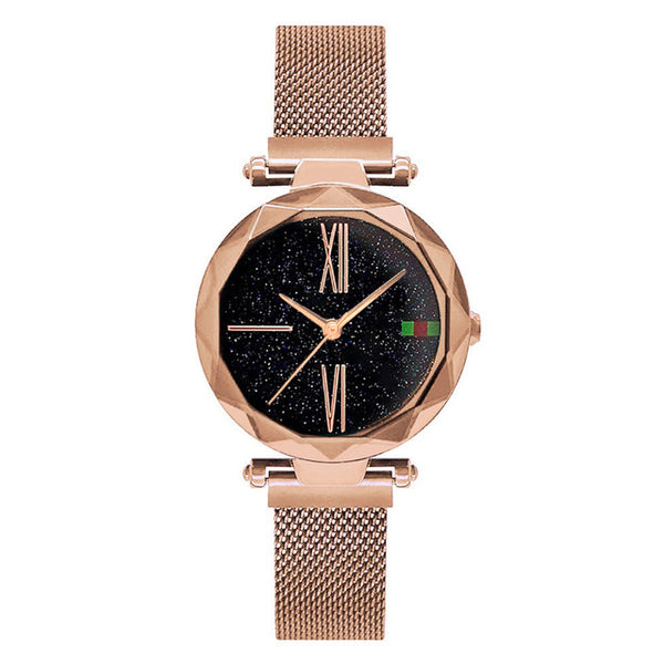 Luxury Rose Gold Women Watches Minimalism Starry sky Magnet Buckle Fashion Casual Female Wristwatch Waterproof Roman Numeral - Merla's Vault