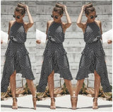 2018 Summer Dress Women New Fashion Halter Polka Dot Print Casual Dress Ladies Ruffles Elegant Dress 100010 - Candid Lady