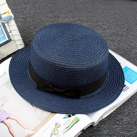 Summer Women Boater Beach Hat  Casual  Hat Lady   Classic Bowknot Straw Flat Sun Hat