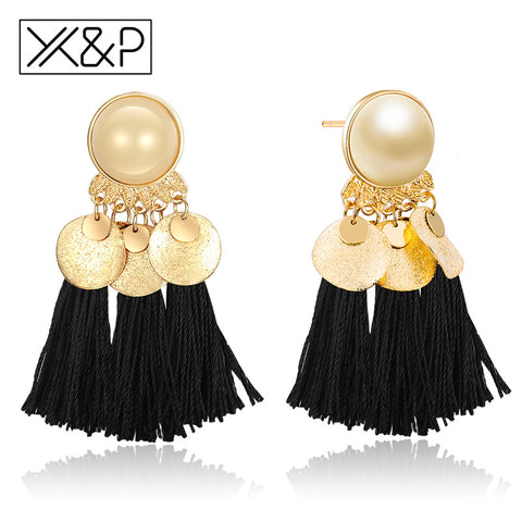 X&P Fashion Classic Ethnic Multicolor Tassel Earrings for Women Girls Party Vintage Glamour Bohemian Drop Earrings Jewelry Gift