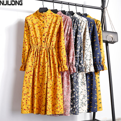 Corduroy High Elastic Waist Vintage Dress A-line Style 2018 Winter Women Full Sleeve Floral Print Dresses Feminino 23 Colors - Merla's Vault