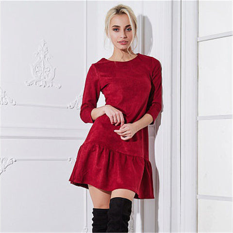 2018 Autumn Women Fashion Velvet Suede Ruffle Casual Mini Dress Autumn Half Sleeve Vintage Christmas Party Dresses Vestidos - Candid Lady