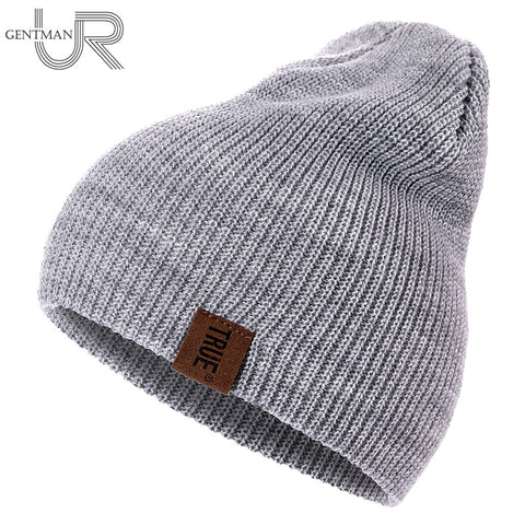 1 Pcs Hat PU Letter True Casual Beanies for Men Women Warm Knitted Winter Hat Fashion Solid Hip-hop Beanie Hat Unisex Cap - Candid Lady