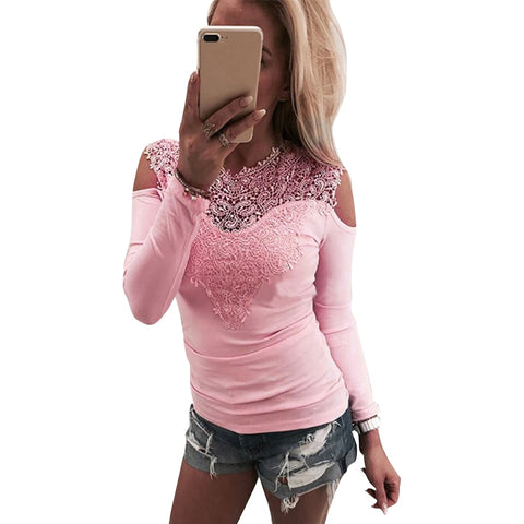 Sweet Lace T-Shirt Women Off The Shoulder Pink Slim Fit Tees Ladies O-Neck Autumn Casual Elegant Tops T-Shirts Women Clothes