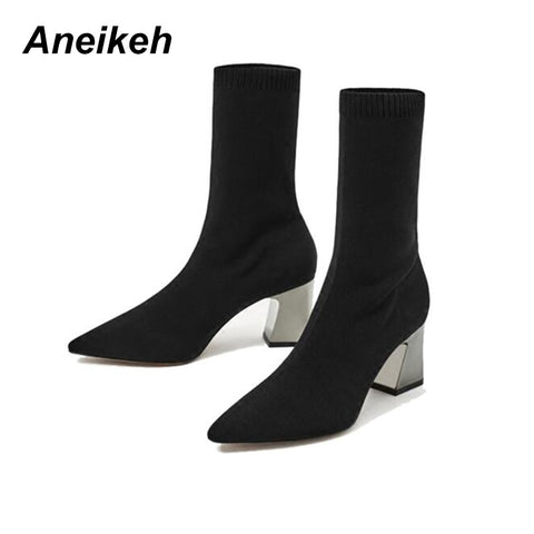 Aneikeh Fashion Ankle Elastic Sock Boots Chunky High Heels Stretch Women Autumn Sexy Booties Pointed Toe Women Pump Size 40 41 - Candid Lady