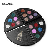 UCANBE Brand 6 Colors Fan Shaped Big Shimmer Metallic Eyeshadow Palette Sparkle Glitter Diamond Eye Shadow Waterproof Cosmetics