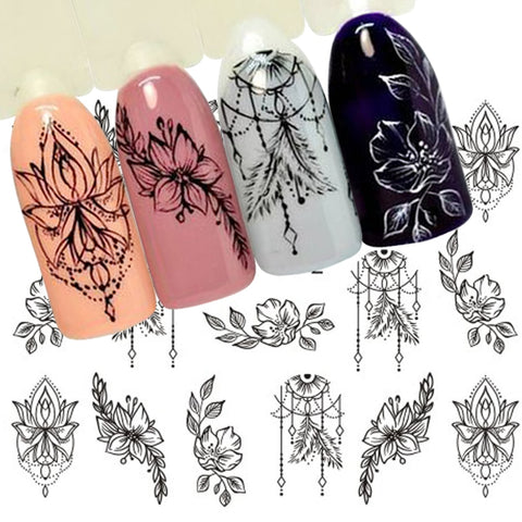 1 Sheet Jewelry Flower Water Decal Black Sticker For Nail Pattern Painting Wrap Paper Foil Tip Tattoo Manicure SASTZ766-778 - Candid Lady