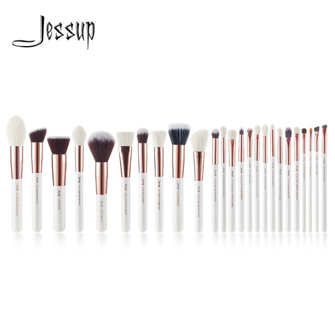 Jessup Pearl White/Rose Gold Professional Makeup Brushes brushes Make up Brush Tools kit Foundation set Powder Blushes Beauty