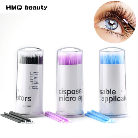 100Pcs/pack Durable Micro Disposable micro brush Individual Lash Removing Tools Swab Micro brushes Eyelash Extension Tools - Candid Lady