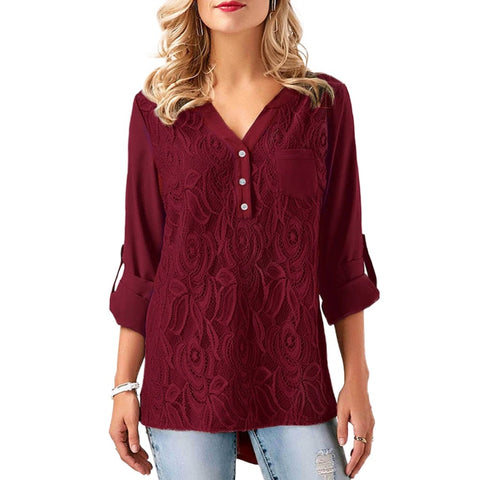 2018 Autumn XXXL Plus Size Tunics Embroidery Chiffon Blouses Women Lace Tops Long Sleeve Top Large Sizes OL Ladies Shirts female - Candid Lady