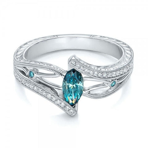 Women's Luxury 925 Sterling Silver 0.9CT Aquamarine 0.3CT White Topaz Engagement Ring