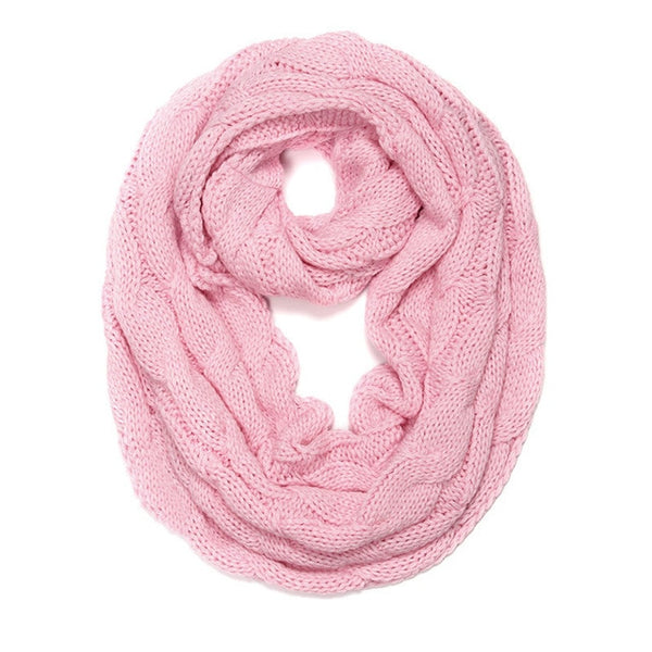 2018 New Knitted Cable Ring Scarf Women Soft Infinity Scarves Women Cashmere Neck Circle Scarf Female Winter Warm Snood Scarf - Candid Lady