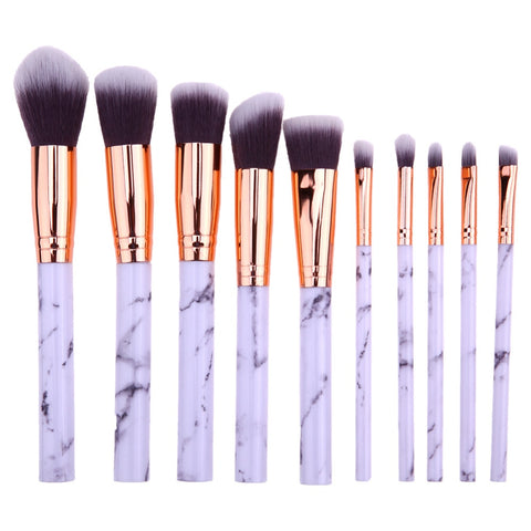 10PCS Makeup Brushes Face Powder Foundation Eyelash Eyeshadow Make up Brushes Set Marbling Synthetic Hair Brush Pincel Maquiagem - Candid Lady