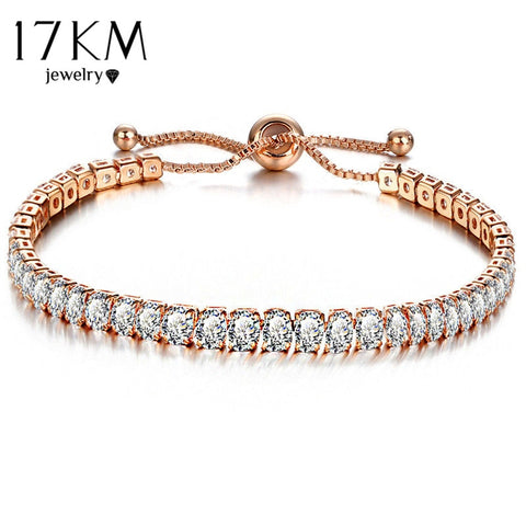 17KM Fashion Cubic Zirconia Tennis Bracelet & Bangle Adjustable Pulseras Mujer Charm Bracelet For Women Bridal Wedding Jewelry - Candid Lady