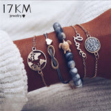 17KM Vintage Turtle Heart Map Charm Bracelets Set For Women 2 New Design Stone Beads Infinite Bracelet Boho Jewelry Wholesale - Candid Lady