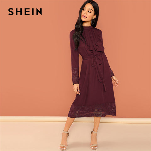 SHEIN Burgundy Elegant Solid Belted Pleated Ruffle Trim Contrast Lace Long Sleeve Dress Autumn OL Workwear Women Dresses