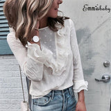 Lace Sexy Shirt Womens Ladies Fashion Ruffle Frill Long Sleeve Casual Top Shirt Blouse - Merla's Vault
