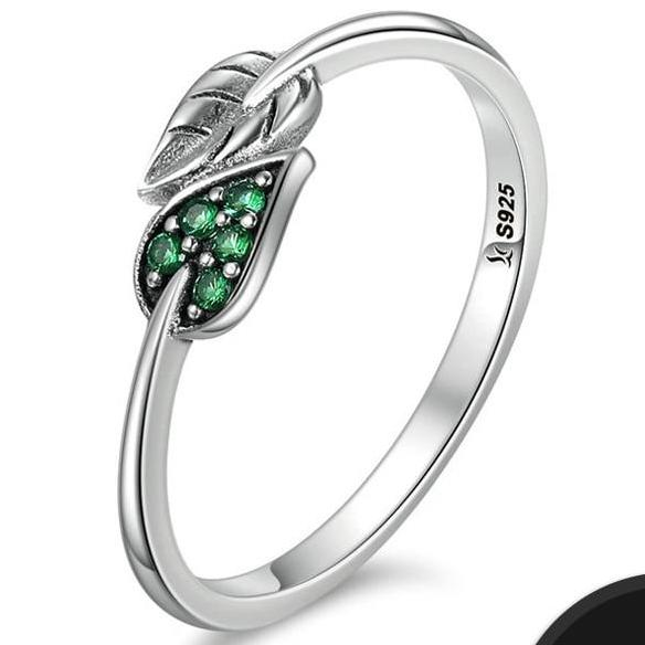BAMOER 100% 925 Sterling Silver Dancing Leaves Leaf Green Dazzling CZ Finger Rings for Women Engagement Jewelry Anel Gift SCR093 - Merla's Vault