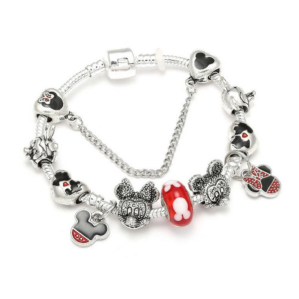 Animal Mickey Charm Bracelets & Bangles Women Jewelry Minnie Pink Bow-Knot Pendant Pandora Bracelet DIY Handmade for Girl Gift - Candid Lady