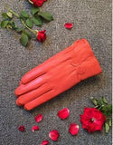 2019 women's genuine leather gloves red sheepskin gloves autumn and winter fashion female windproof gloves - Candid Lady
