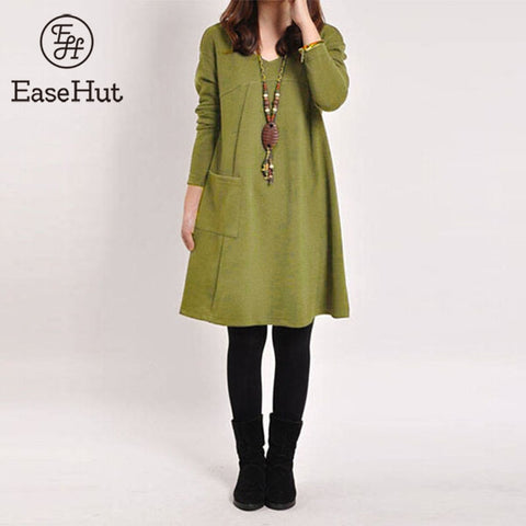 EaseHut Plus Size Dress Women Vintage Pocket Loose Casual Long Sleeve Midi Dress vestidos vendaje 2018 Solid Winter Dress 5xl