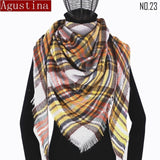 Plaid scarf winter women cashmere shawl poncho triangle scarfs luxury capes brand  pashmina ladies scarves womens shaws tartan