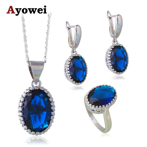 Blue Saphire Fashion Jewelry Sets for Women Silver Stamped CZ Earrings Necklace Ring Sz #6#7#8#9#10 JS651A