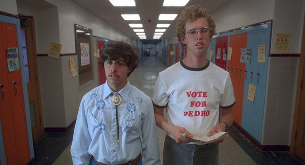 Top 25 graphic t shirts in movies, Napoleon Dynamite vote for pedro shirt
