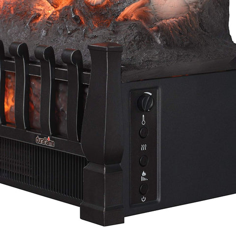 Electric Log Set Heater with Realistic Ember Bed