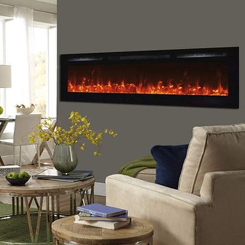 Touchstone In-Wall Recessed Sideline Electric Fireplace with 5 Flame Settings & Realistic 3 Color Flame
