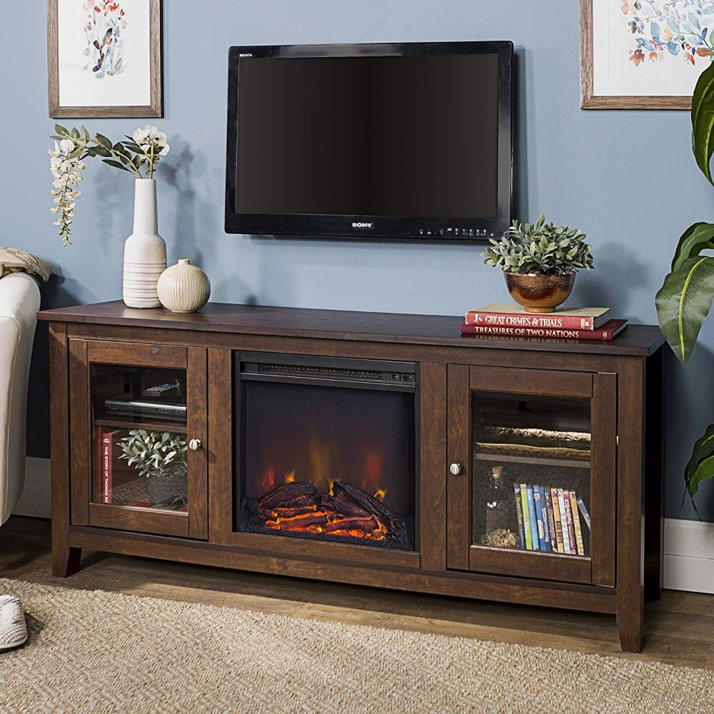 "58"" Wood Media TV Stand Console with Fireplace"